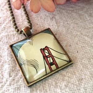 Jewelry - Golden Gate Bridge Necklace Square Charm